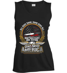All Gave Some, Some Gave All. God Bless America. Women's: Sport-Tek Ladies' Sleeveless Moisture Absorbing V-Neck.