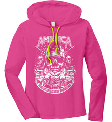 America. 2nd Amendment Patriots. White Print. Women's: Anvil Ladies' Long Sleeve T-Shirt Hoodie.
