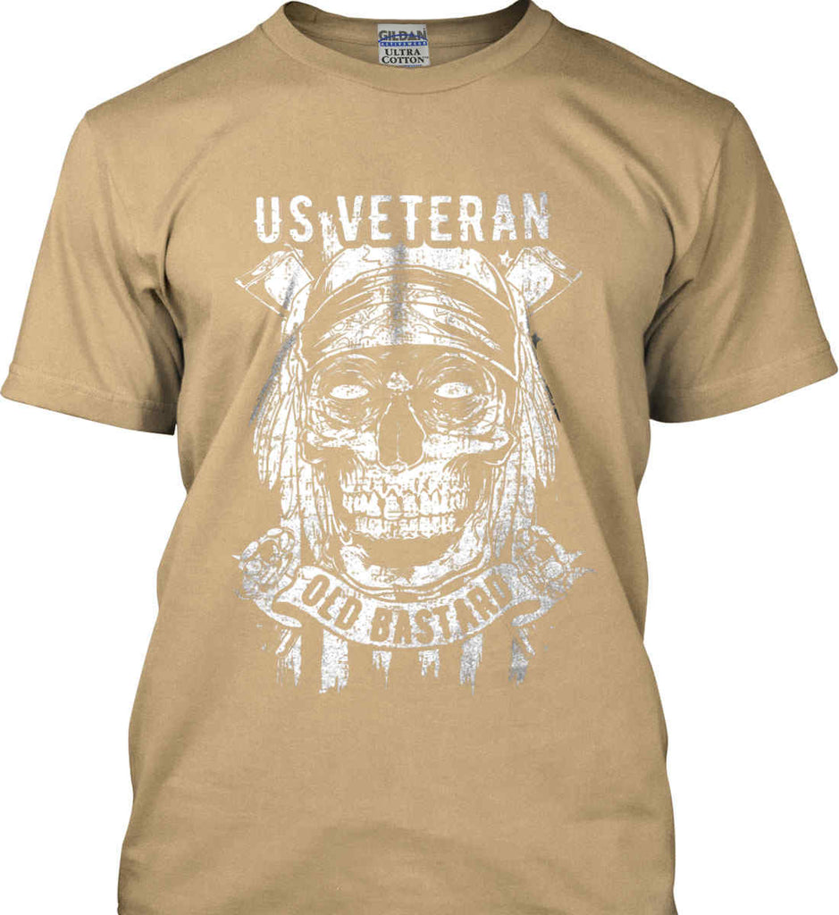 US Veteran. Skull on Flag. White Print. Gildan Ultra Cotton T-Shirt.-10