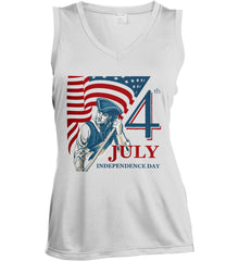 Patriot Flag. July 4th. Independence Day. Women's: Sport-Tek Ladies' Sleeveless Moisture Absorbing V-Neck.