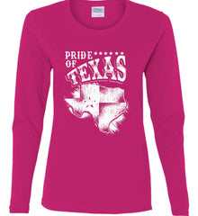 Pride of Texas. Texas Flag. Be a proud Texan Patriot. White Print. Women's: Gildan Ladies Cotton Long Sleeve Shirt.