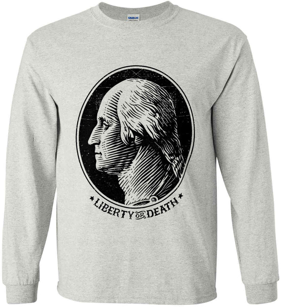 George Washington Liberty or Death. Black Print Gildan Ultra Cotton Long Sleeve Shirt.-3