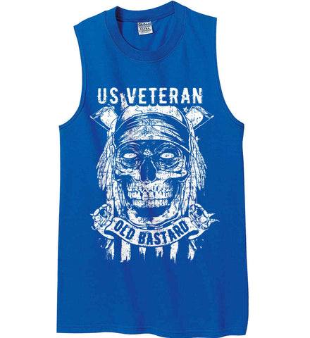 US Veteran. Skull on Flag. White Print. Gildan Men's Ultra Cotton Sleeveless T-Shirt.