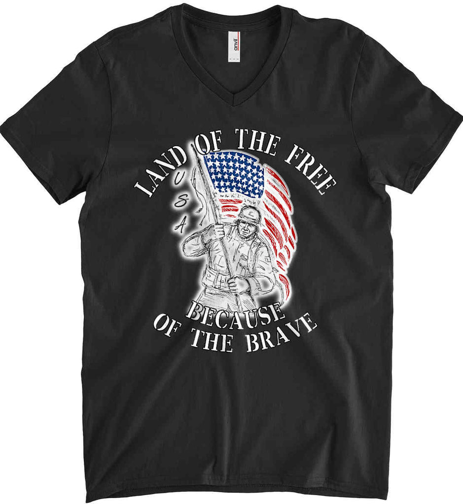 Land of the Free Because of The Brave. Anvil Men's Printed V-Neck T-Shirt.-1