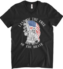 Land of the Free Because of The Brave. Anvil Men's Printed V-Neck T-Shirt.