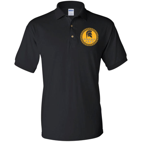 Molon Labe. Spartan Helmet. Yellow/Black. Gildan Jersey Polo Shirt. (Embroidered)