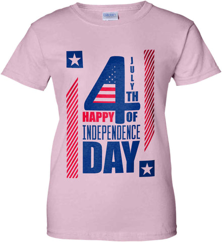 4th of July with Stars and Stripes. Women's: Gildan Ladies' 100% Cotton T-Shirt.
