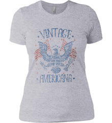 Vintage Americana Faded Grunge Women's: Next Level Ladies' Boyfriend (Girly) T-Shirt.