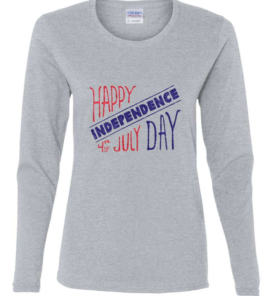 Happy Independence Day. 4th of July. Women's: Gildan Ladies Cotton Long Sleeve Shirt.-3