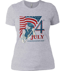 Patriot Flag. July 4th. Independence Day. Women's: Next Level Ladies' Boyfriend (Girly) T-Shirt.