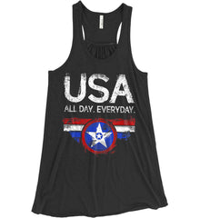 USA All Day Everyday. Women's: Bella + Canvas Flowy Racerback Tank.
