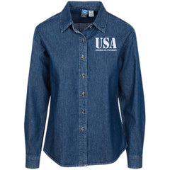 USA. American Patriot. Women's: Port Authority Women's LS Denim Shirt. (Embroidered)