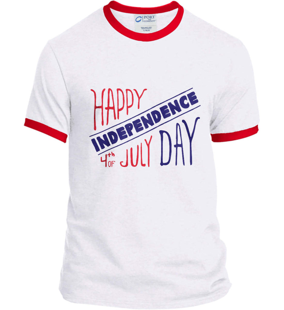 Happy Independence Day. 4th of July. Port and Company Ringer Tee.-4