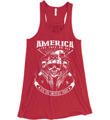 Did you America Today. 1776. Live Free or Die. Skull. White Print. Women's: Bella + Canvas Flowy Racerback Tank.