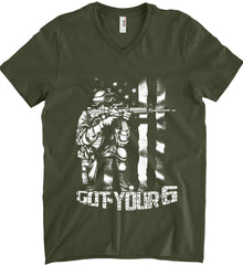 Got Your Six. Soldier Flag. White Print. Anvil Men's Printed V-Neck T-Shirt.