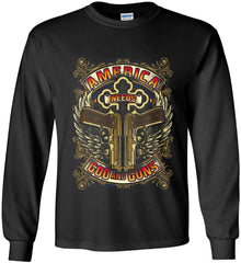 America Needs God and Guns. Gildan Ultra Cotton Long Sleeve Shirt.