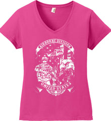 Airborne Division. United States. White Print. Women's: Anvil Ladies' V-Neck T-Shirt.