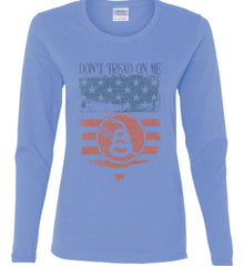 Don't Tread on Me. Rattlesnake. Faded Grunge Shield Women's: Gildan Ladies Cotton Long Sleeve Shirt.