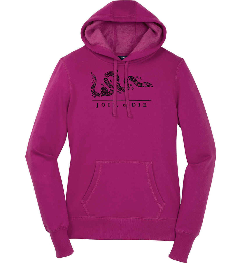 Join or Die. Black Print. Women's: Sport-Tek Ladies Pullover Hooded Sweatshirt.-2