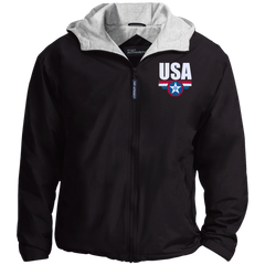 USA. Star-Shield. Red, White, Blue. Port Authority Team Jacket. (Embroidered)