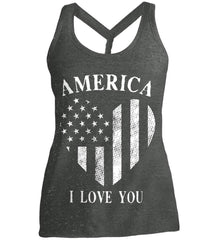 America I Love You White Print. Women's: District Made Ladies Cosmic Twist Back Tank.