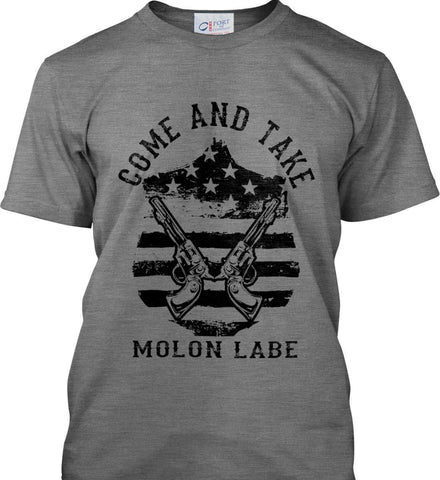 Come and Take. Molon Labe. Guns on Shield. Black Print. Port & Co. Made in the USA T-Shirt.