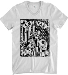 American Patriot - Flag/Rider. Black Print. Anvil Men's Printed V-Neck T-Shirt.