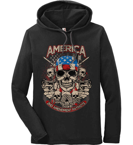 America. 2nd Amendment Patriots. Anvil Long Sleeve T-Shirt Hoodie.