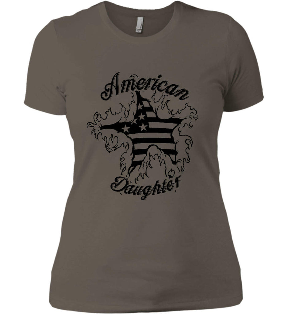 American Daughter. Women's Patriot Design. Women's: Next Level Ladies' Boyfriend (Girly) T-Shirt.-5