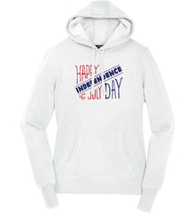 Happy Independence Day. 4th of July. Women's: Sport-Tek Ladies Pullover Hooded Sweatshirt.