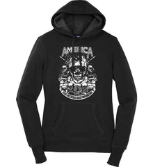 America. 2nd Amendment Patriots. White Print. Women's: Sport-Tek Ladies Pullover Hooded Sweatshirt.