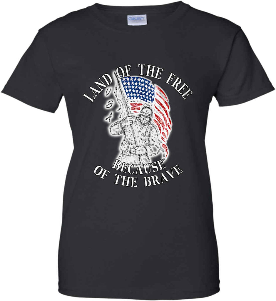 Land of the Free Because of The Brave. Women's: Gildan Ladies' 100% Cotton T-Shirt.-1