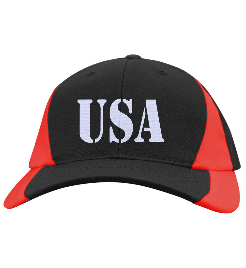 USA Patriot Hat Sport-Tek Mid-Profile Colorblock Cap. (Embroidered)-10