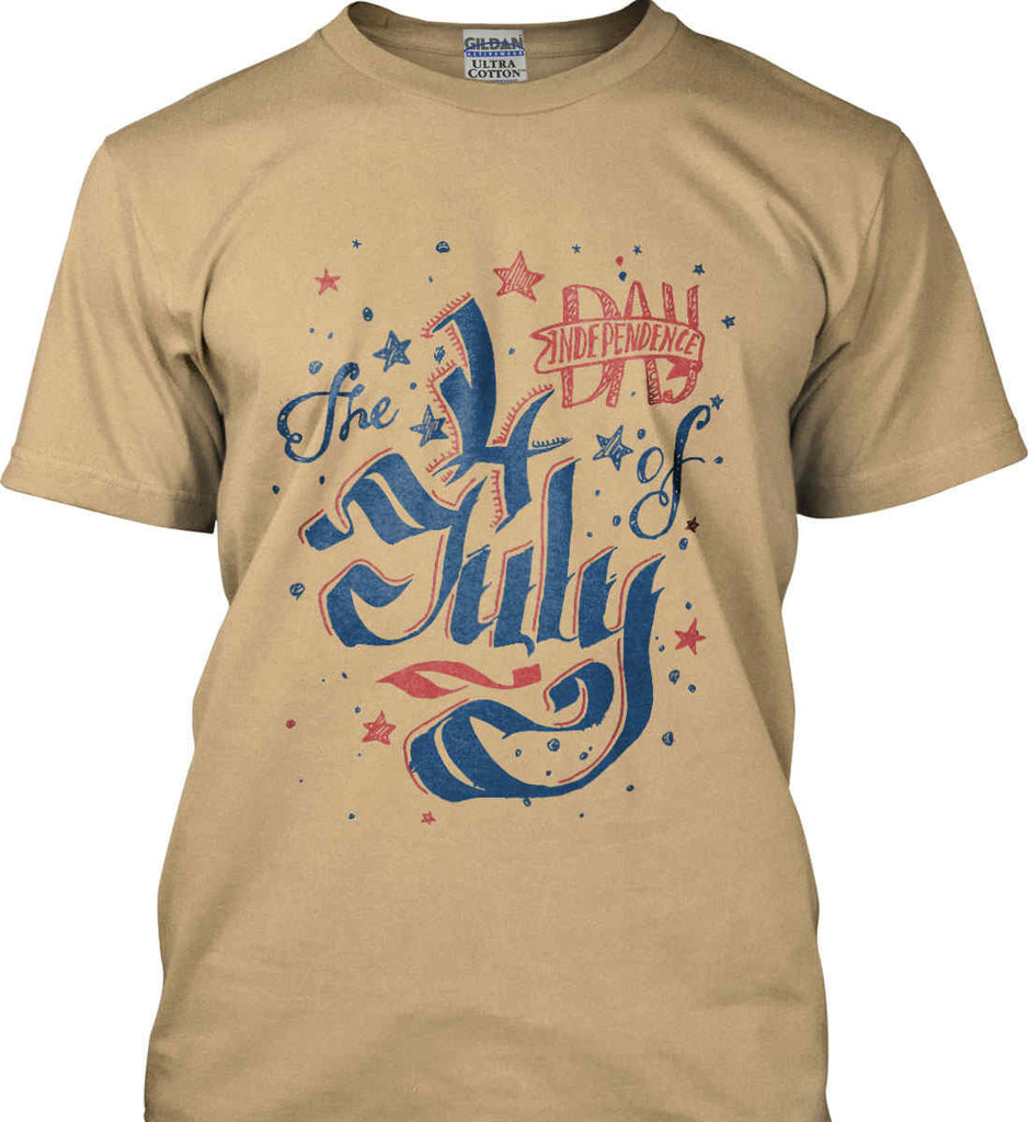 The 4th of July. Ribbon Script. Gildan Ultra Cotton T-Shirt.-8
