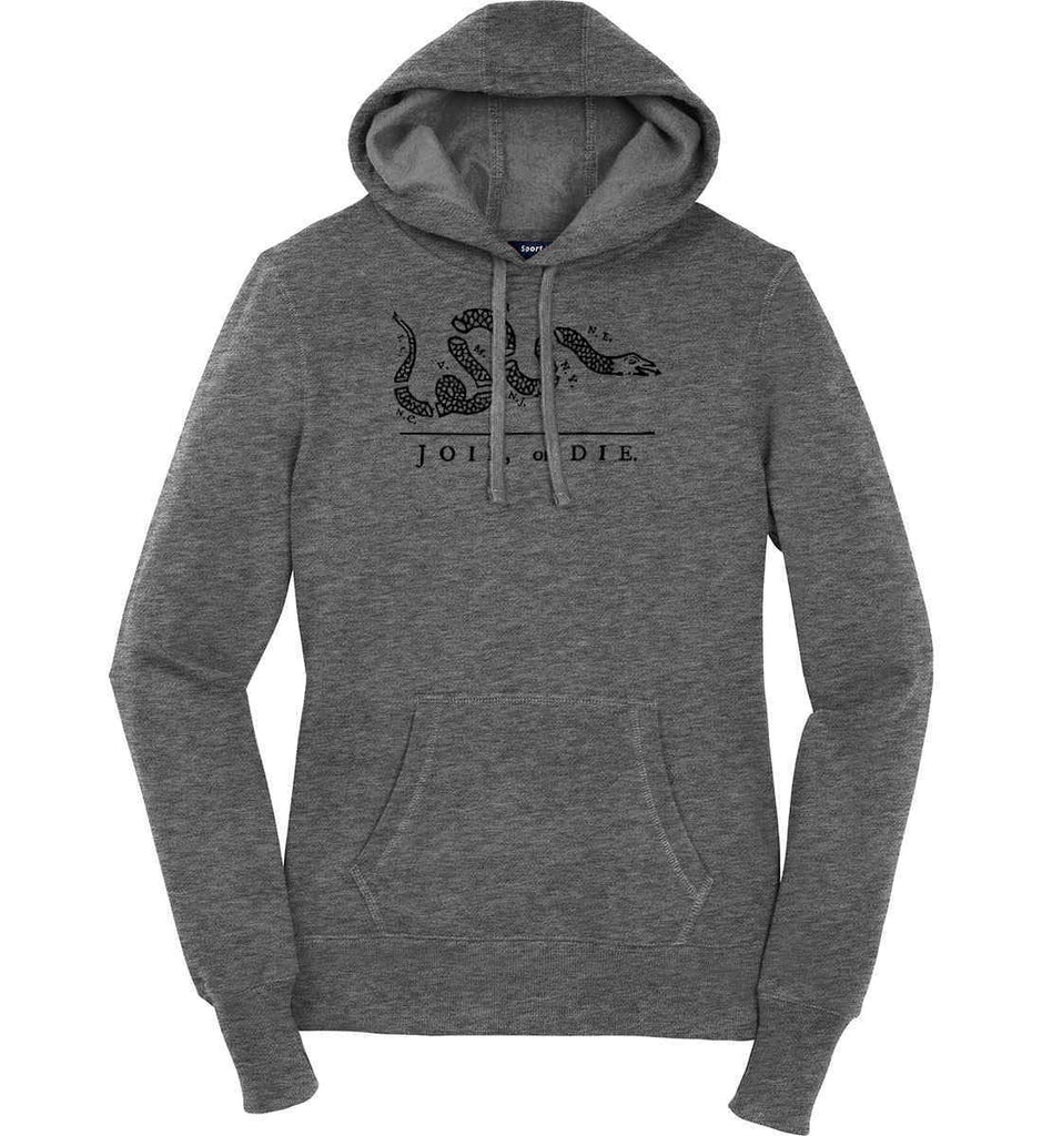 Join or Die. Black Print. Women's: Sport-Tek Ladies Pullover Hooded Sweatshirt.-3