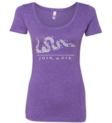 Join or Die. White Print. Women's: Next Level Ladies' Triblend Scoop.