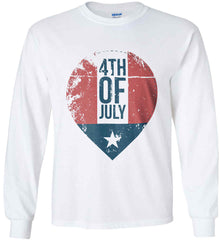 4th of July with Star. Gildan Ultra Cotton Long Sleeve Shirt.