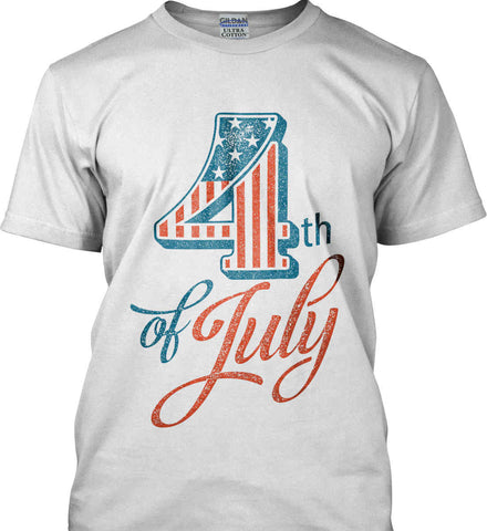 4th of July. Faded Grunge. Gildan Ultra Cotton T-Shirt.