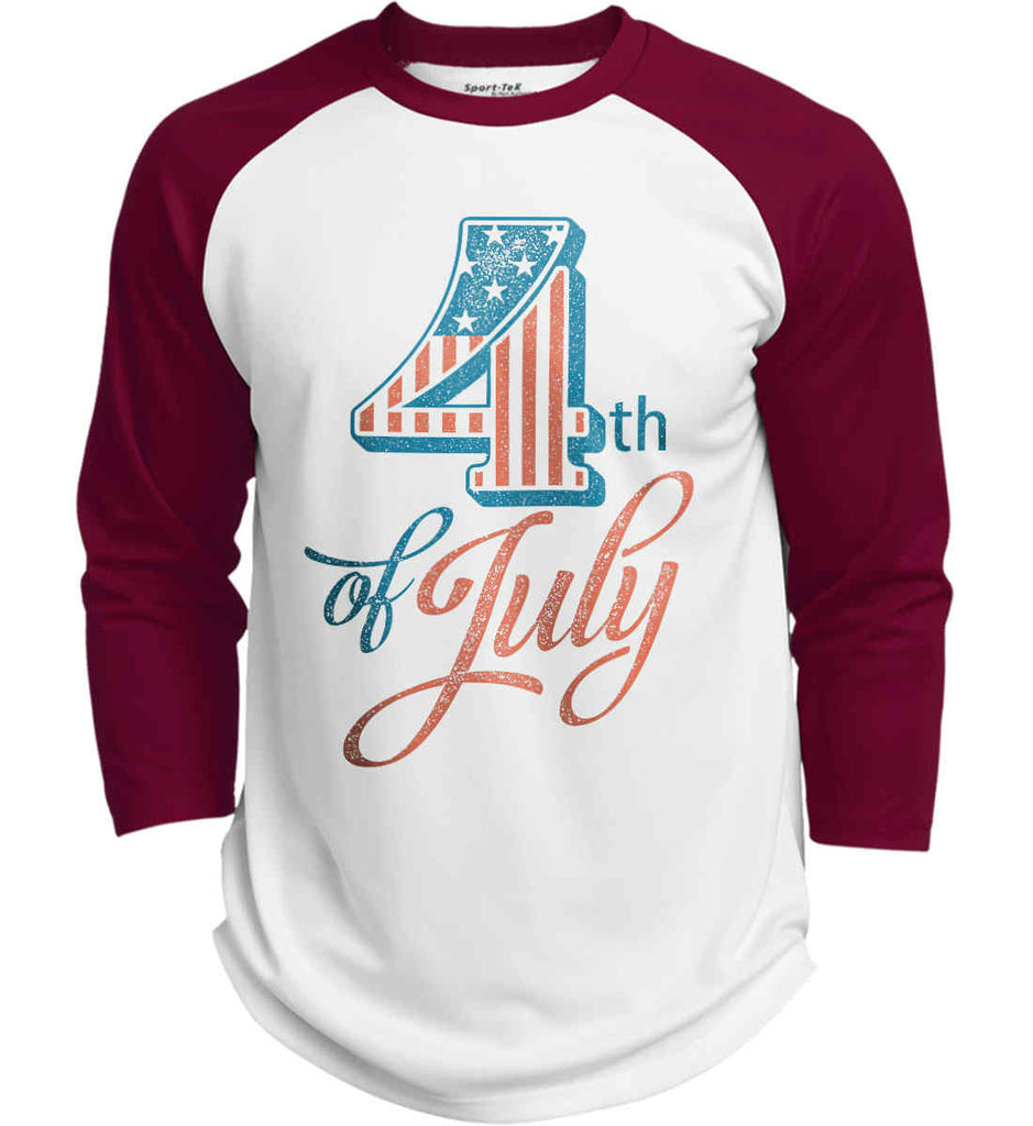 4th of July. Faded Grunge. Sport-Tek Polyester Game Baseball Jersey.-5