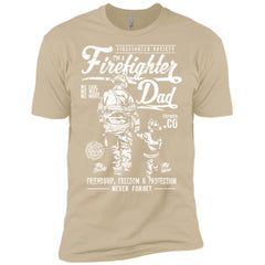 screen  ||  Firefighter Dad. Friendship, Freedom & Protection. White Print. || LNA648 || NL3600 Next Level Premium Short Sleeve T-Shirt