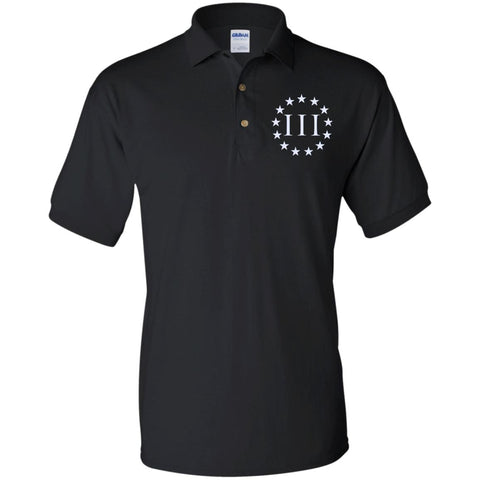 Three Percent III. Surrounded by Stars. Gildan Jersey Polo Shirt. (Embroidered)