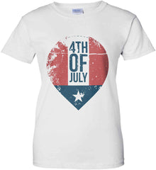 4th of July with Star. Women's: Gildan Ladies' 100% Cotton T-Shirt.
