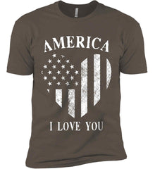 America I Love You White Print. Next Level Premium Short Sleeve T-Shirt.