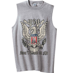 Don't Tread on Me. Eagle with Shield and Rattlesnake. Gildan Men's Ultra Cotton Sleeveless T-Shirt.