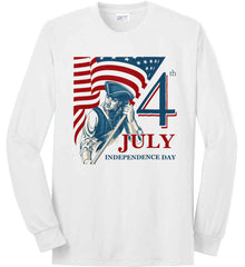 Patriot Flag. July 4th. Independence Day. Port & Co. Long Sleeve Shirt. Made in the USA..