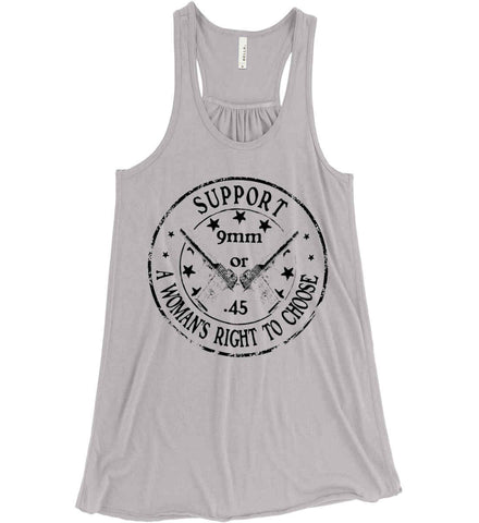 Support a Womens Right to Choose. Woman's Second Amendment. Black Print. Women's: Bella + Canvas Flowy Racerback Tank.