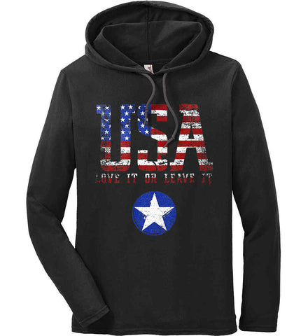 USA. Love It or Leave It. Freedom Hard. Anvil Long Sleeve T-Shirt Hoodie.