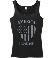 America I Love You Women's: Anvil Ladies' 100% Ringspun Cotton Tank Top.