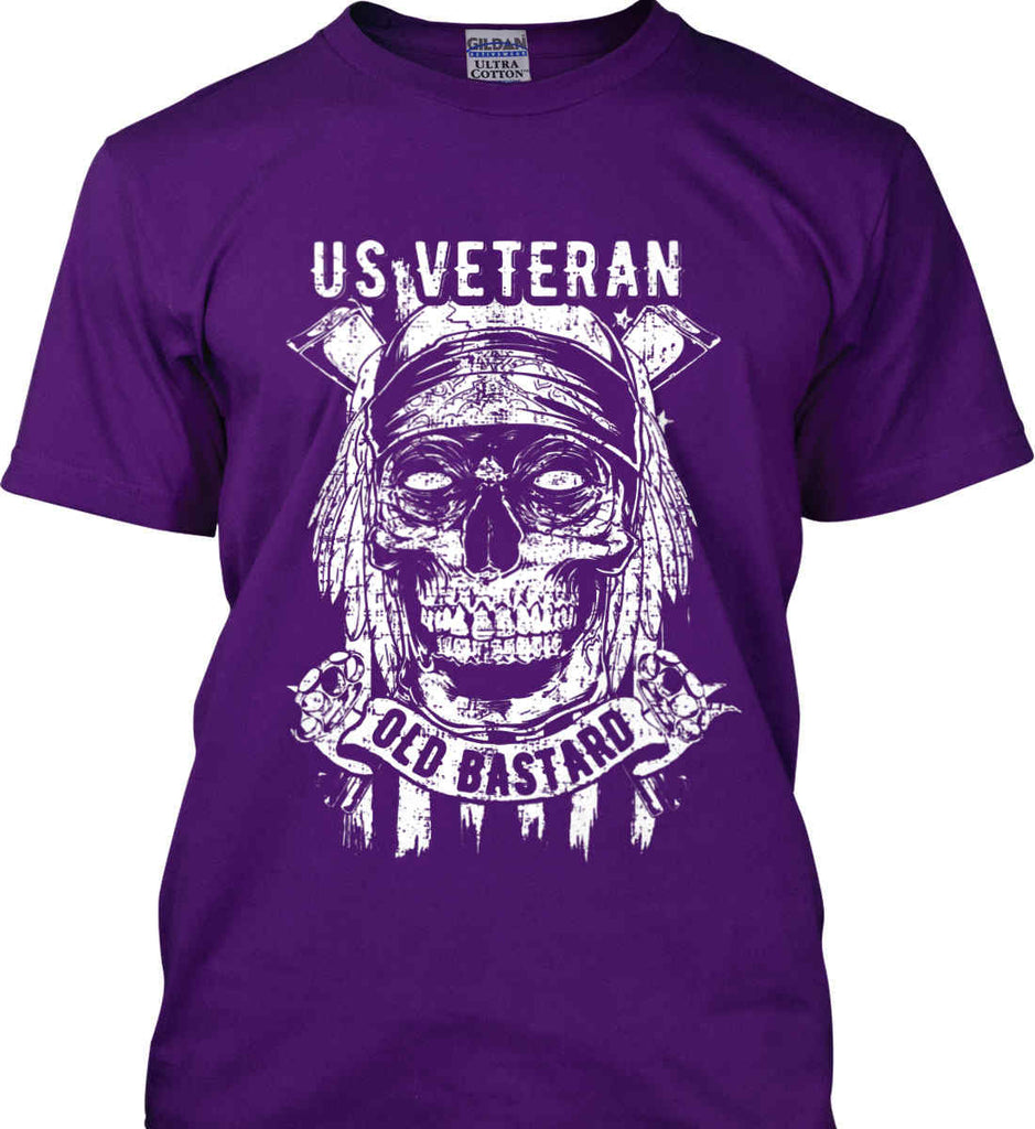 US Veteran. Skull on Flag. White Print. Gildan Ultra Cotton T-Shirt.-8