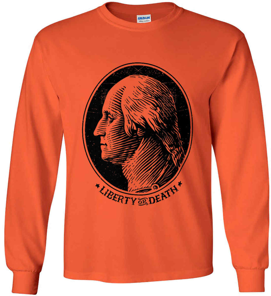 George Washington Liberty or Death. Black Print Gildan Ultra Cotton Long Sleeve Shirt.-9